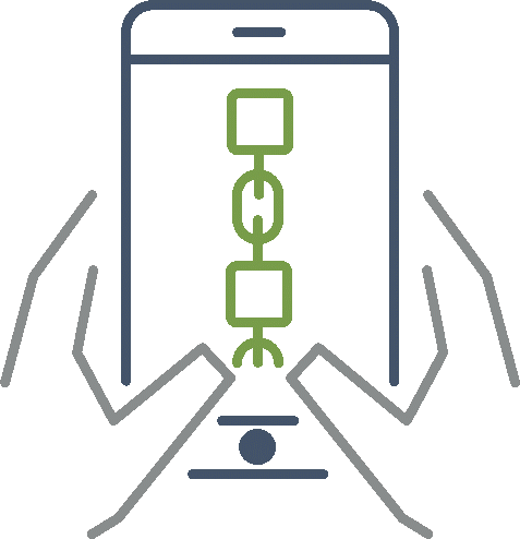 illustrated hands holding a mobile phone which has an image of a chain on the screen