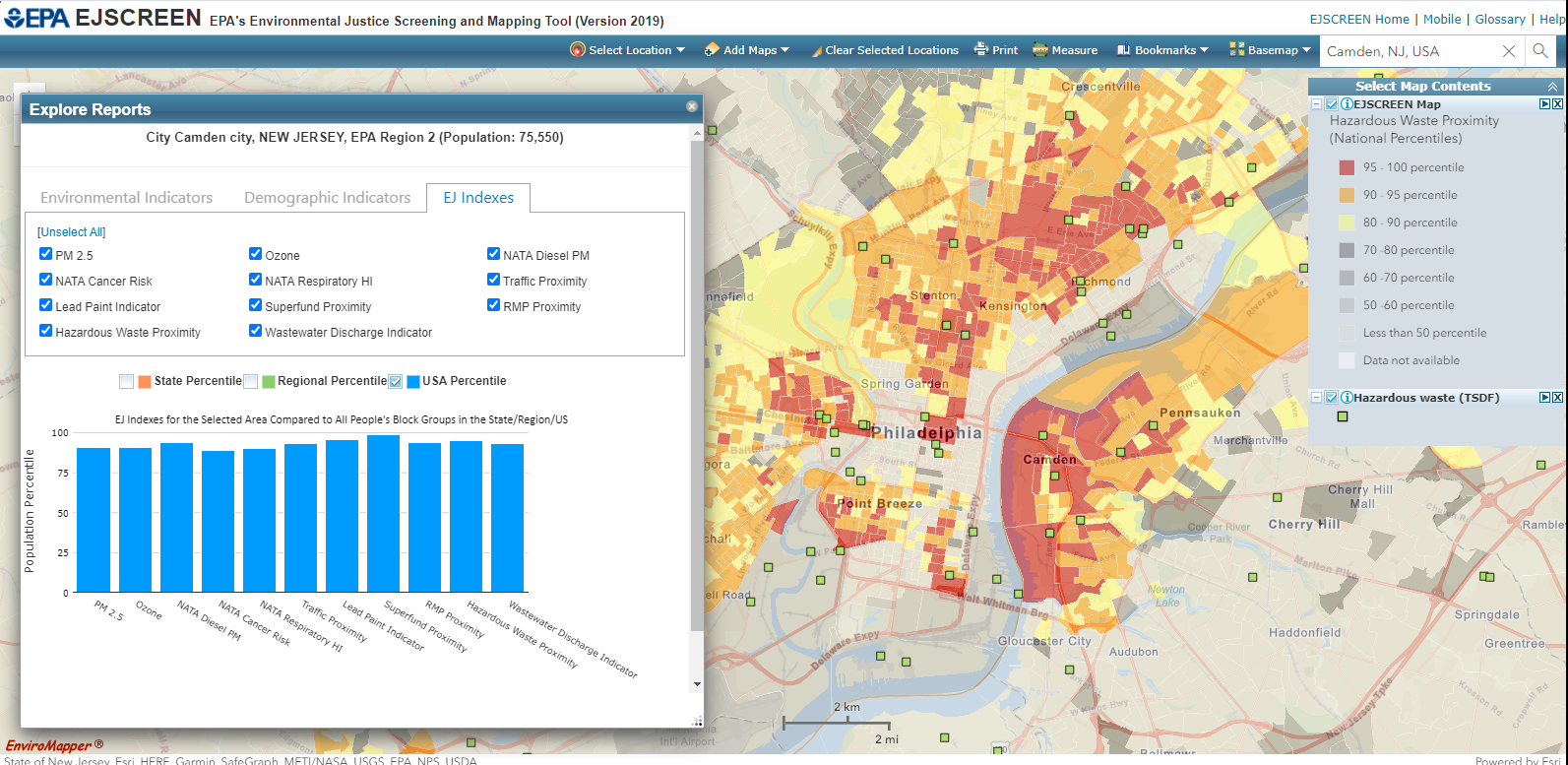 EPA environmental justice mapping tool