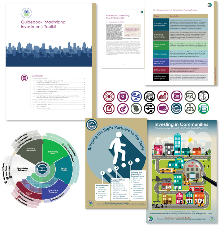Collage of Maximizing Investments Toolkit materials