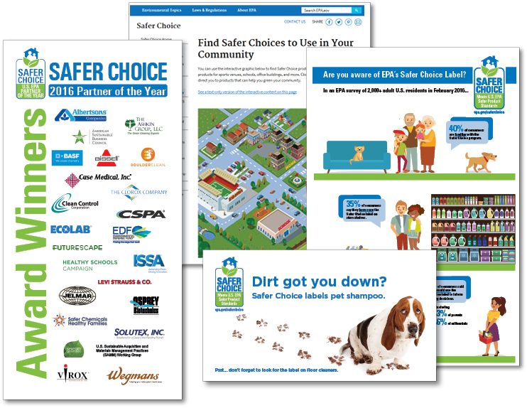 collage of safer choice materials