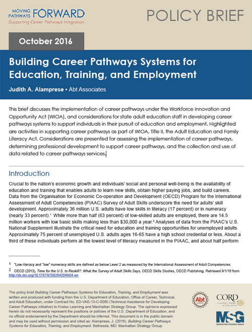 Building Career Pathways Systems for Education, Training and Employment