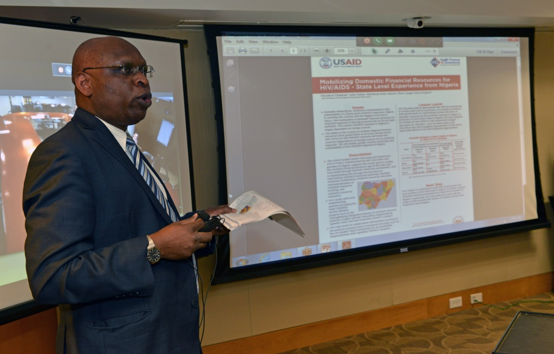 John Osika, Principal Associate for International Health, gave a poster presentation on local funding for HIV services in Nigeria