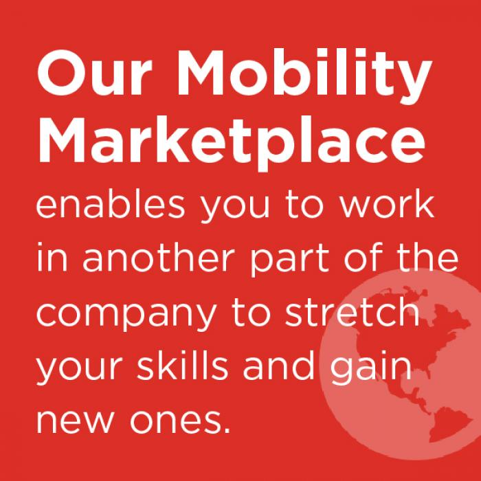 our mobility marketplace enables you to work in another part of the company to stretch your skills and gain new ones to