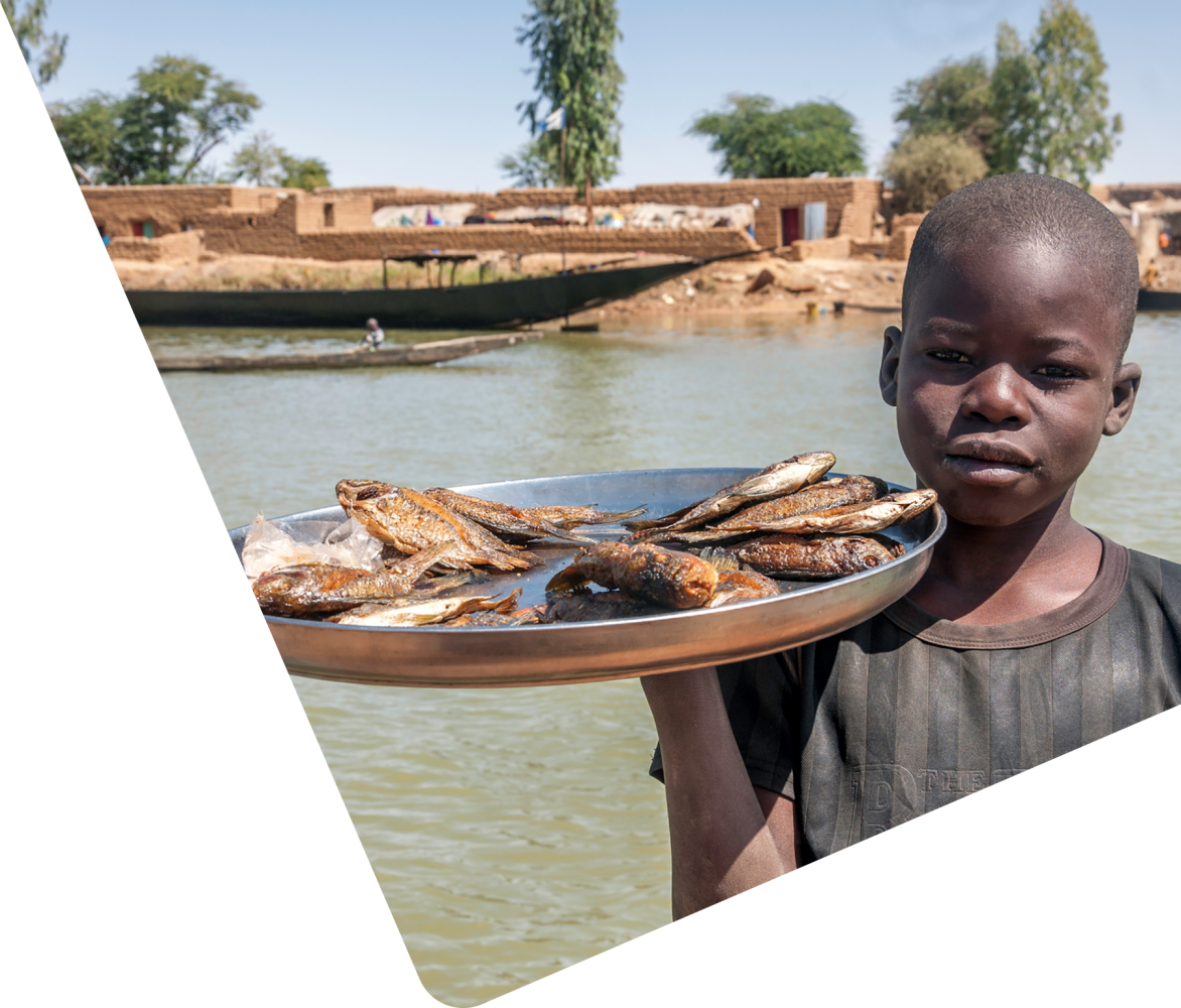 boy in Niger holding tray of fish