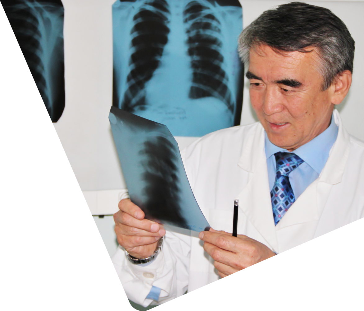 medical doctor with x-ray